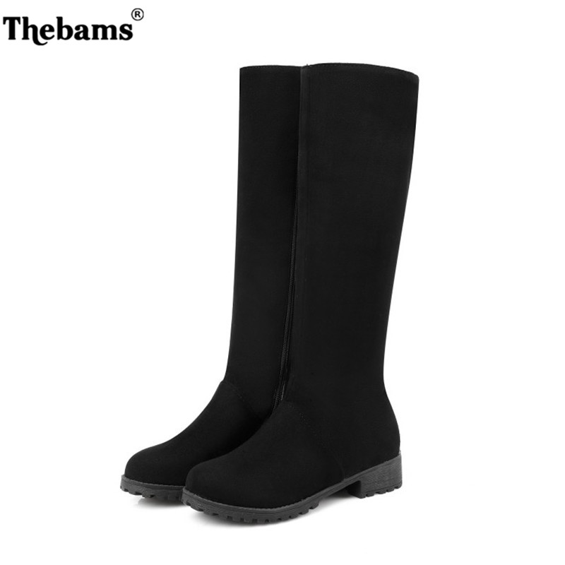 Women shoes New Over The high quality Knee High Black Boots Women Motorcycle Flats Long Boots Low Heel suede Leather Shoes