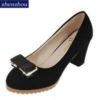Zhenzhou 신발 여자 새로운 봄 2017 단일 신발 패션 금속 두꺼운 높은 뒤꿈치 bowknot 레이디 작업 신발