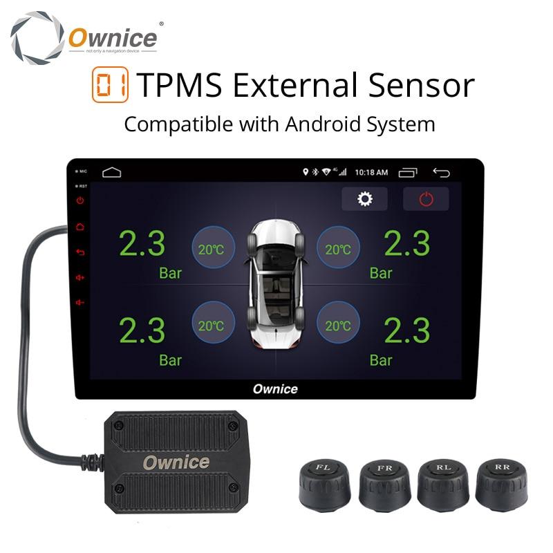 Ownice Android 8.1 USB Externo de Alarme de Monitoramento de Pressão DOS Pneus TPMS com 4/Veículos Sensores internos para o rádio do carro