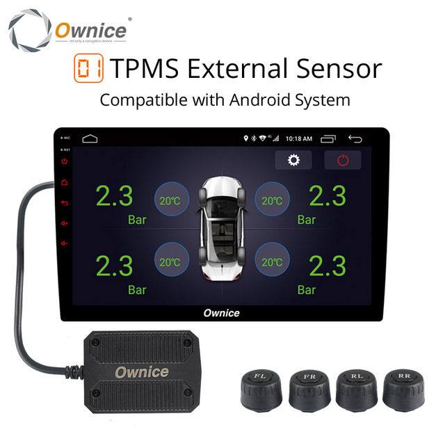 Ownice Android 8.1 USB TPMS Tire Pressure Monitoring Alarm with 4 External / internal Sensors for car radio Vehicles