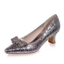 Comfortable low heel 3D glitter evening shoes with rhinestone bowknot lady party prom cocktail pointed toe silver gold shoes