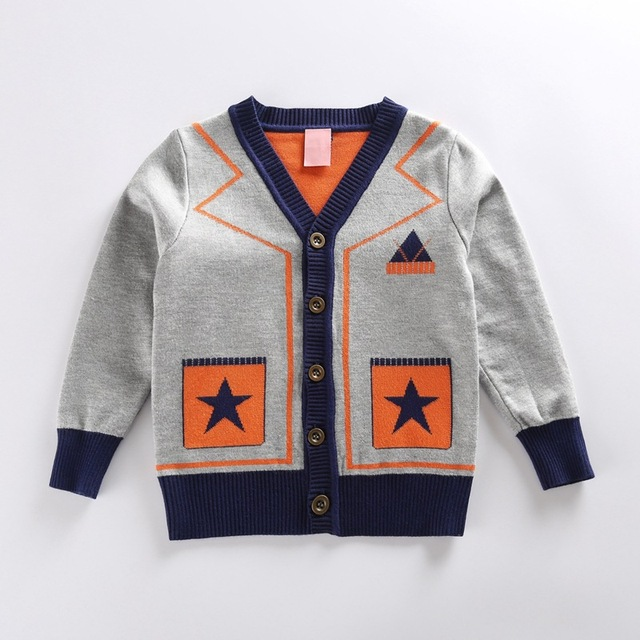 kids grey star pattern geometric cardigan for girls boys sweater for boy autumn winter 2016 brand clothing children's sweater