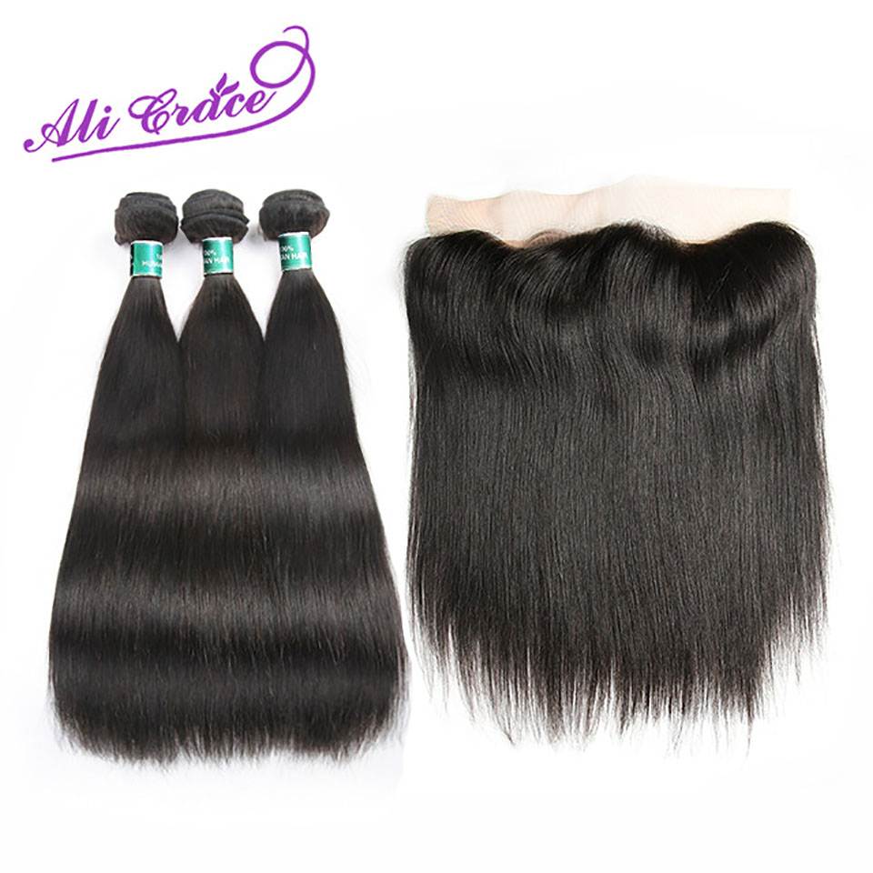 Ali Grace Hair Peruvian Straight With Closure 3 Bundles With 13 4 Free Middle Part Ear