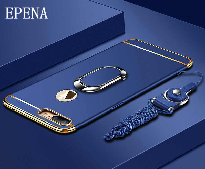 EPENA Ultra Thin For iphone Xs Max XR Plating Hard Pc Cover 3 In 1 Case For iphone x 7 8 Plus 6S 6 Plus Case phone Ring Lanyard