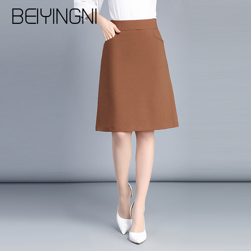 Beiyingni Plus Size Office Lady Skirts Black Pockets Elastic High Waist Skirt OL Korean Work Wear Midi Skirts Fashion Clothing
