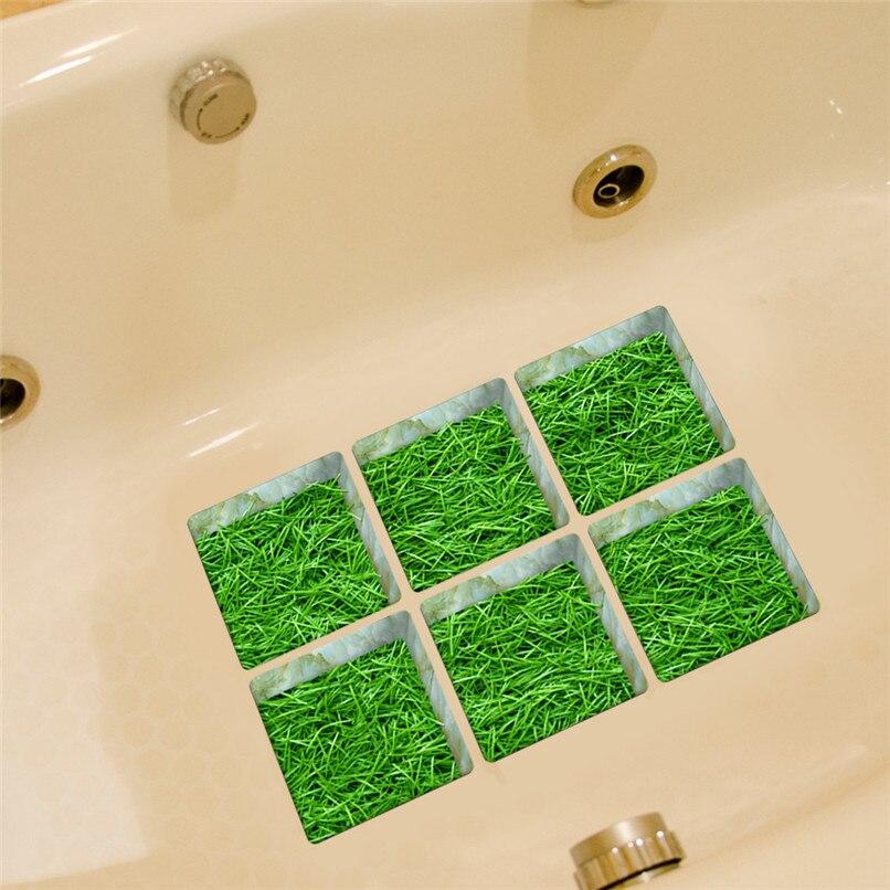 6pcs 13x13cm Green Grass Pattern 3D Anti Slip Waterproof Bathtub ...