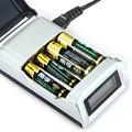 C905w 4 ranuras pantalla lcd inteligente cargador de batería para aa/aaa baterías nicd nimh cargador de enchufe de la ue