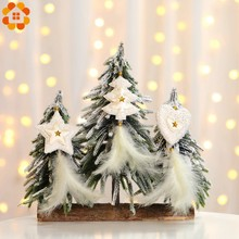 3PCS Christmas Tree&Heart&Star Shape Feather Pendants White/Gold Xmas Tree Ornaments Home Party Decoration Supplies