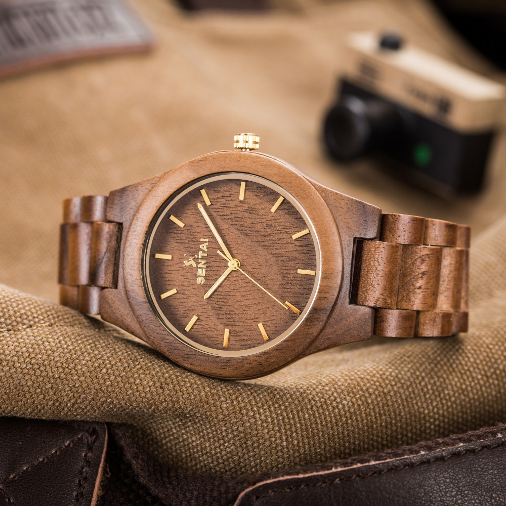 Top Brand Luxury Wood Watch Men's Design Black Wooden Wristwatch WIth Sandal Strap Men's Quartz Watch New Fashion casual watches pv2 rda with top filling design
