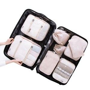 Image 1 - Kit de acessórios de viagem, 8 pçs/set, desenhos animados, de qualidade, malha, organizador de bagagem, embalagem, cubo para roupa íntima, saco