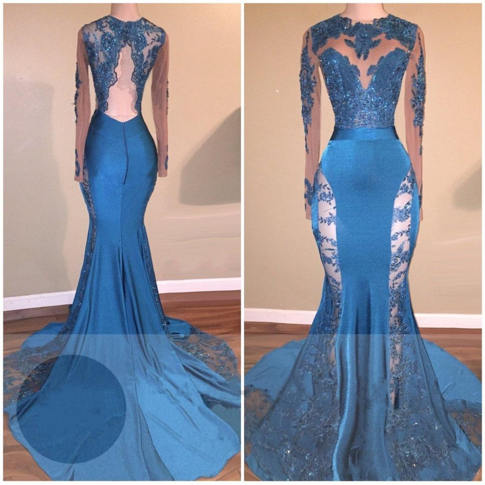Blue 2019   Prom     Dresses   Mermaid Long Sleeves Lace Beaded Backless Party Maxys Long   Prom   Gown Evening   Dresses   Robe De Soiree