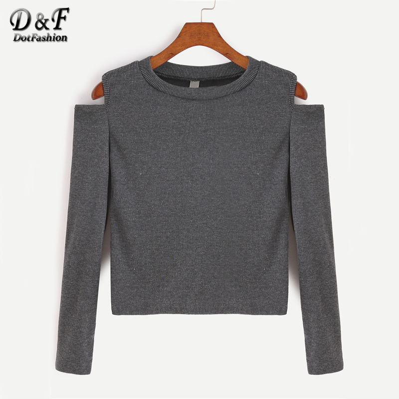 Dotfashion Dark Grey Open Shoulder Crop Tee Shirt 2017 Grey Cold Shoulder Top Autumn Long Sleeve Round Neck Solid T shirt
