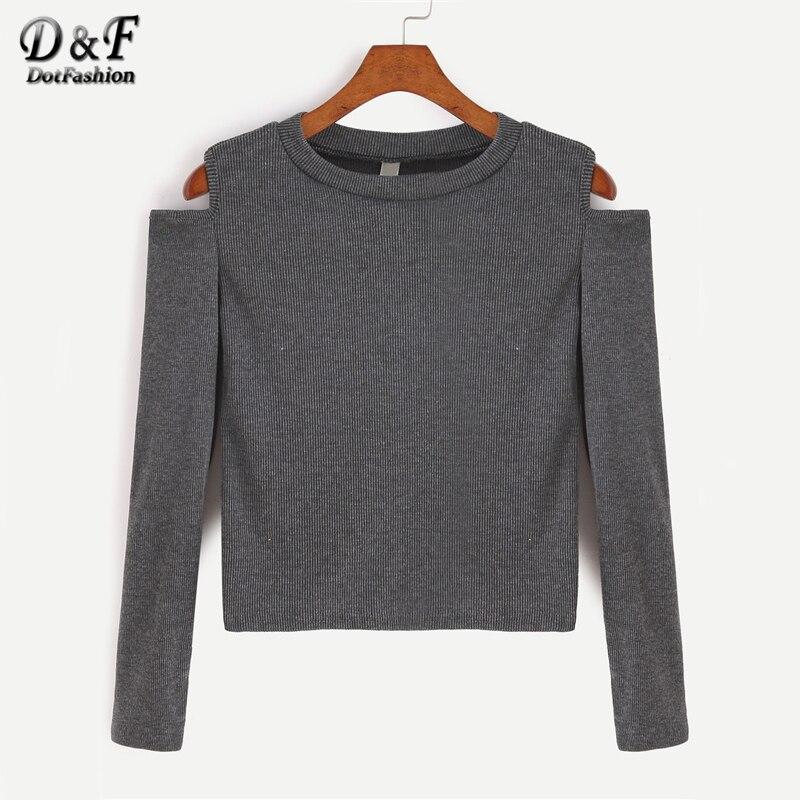 Dotfashion Dark Grey Open Shoulder Crop Tee Shirt 2017 Grey Cold Shoulder Top Autumn Long Sleeve Round Neck Solid T shirt