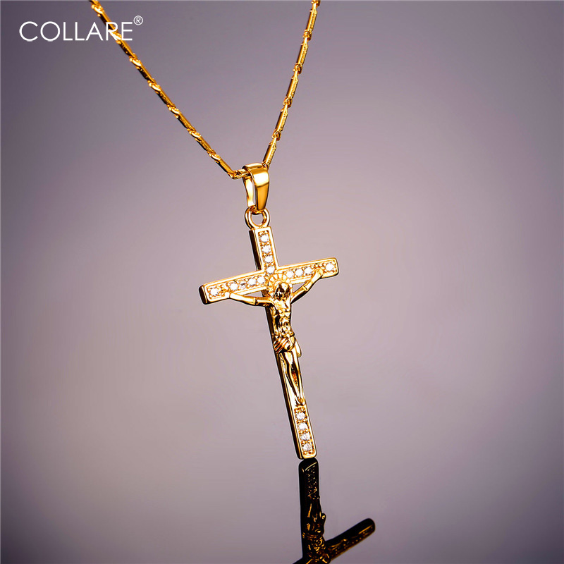 Collare INRI Crystal Cross Crucifix Necklace Christian Jesus Cross 316L Stainless Steel Cross Necklace Women P912 cross