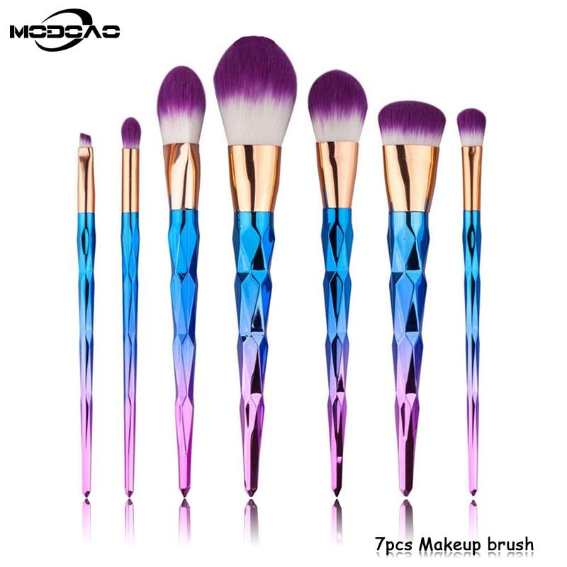 7pcs Diamond Shape Rainbow Handle Makeup Brushes Set Foundation Powder Blush EyeShadow Lip Brush Modoao Beauty Makeup Tools Kit