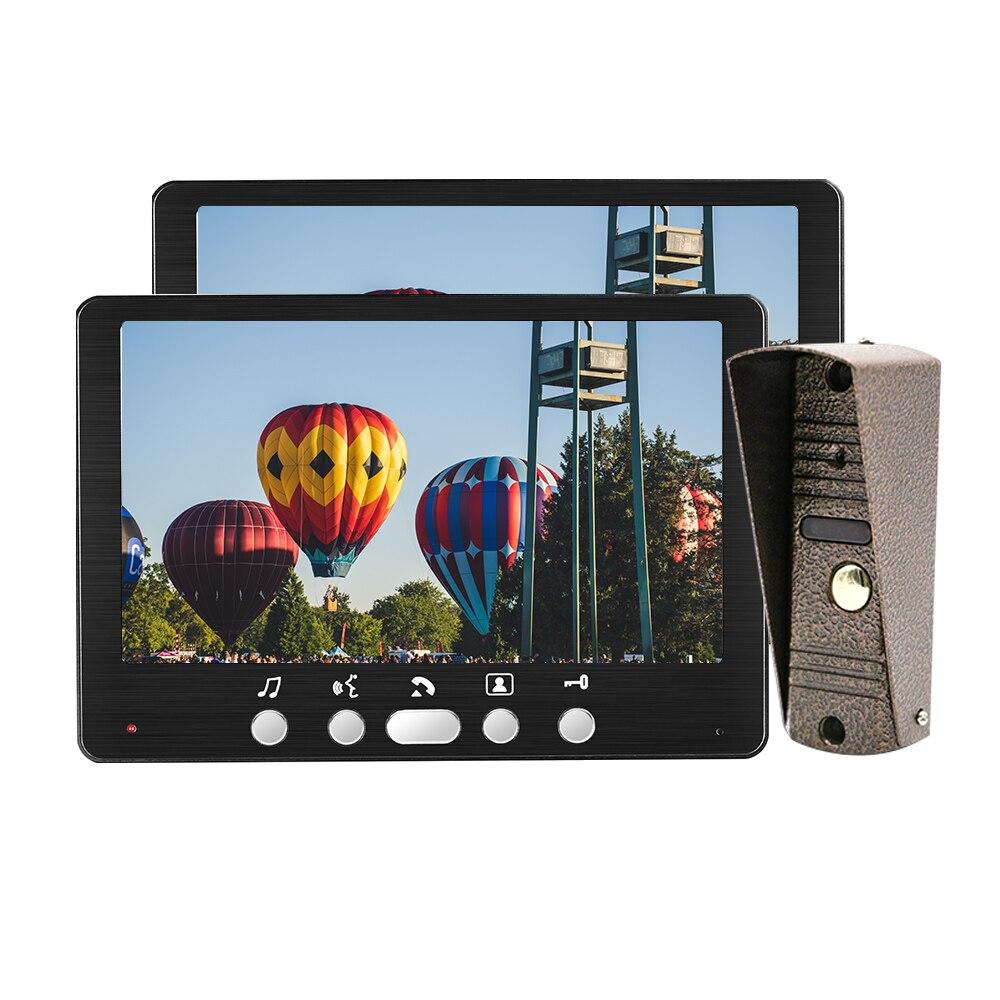 Homefong 7 Inch Video Door Phone Home Intercom Camera System 2 Indoor Monitors+1 Outdoor Panel Station Rainproof Talk Unlock
