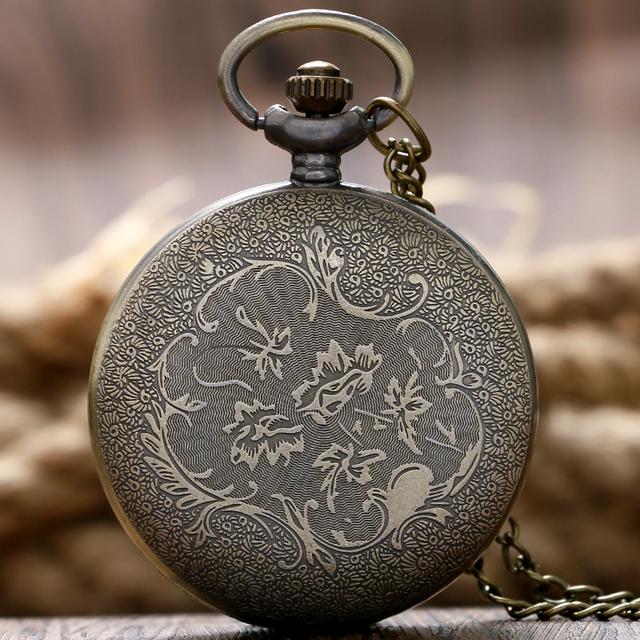 Fashion Stylish Gift Hexagon Grilles Women Men Trendy Modern Pocket Watch Pendant Bronze Hot Necklace