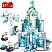 771pcs Princes Series Aisha Magic Castle Ice Castle Building Blocks Mini Doll Figure Toy Children Compatible