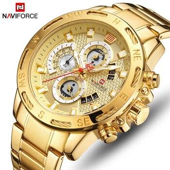 NAVIFORCE 9165 Watches Sport Quartz Watch Mens Golden Chronograph Wristwatch Waterproof with box