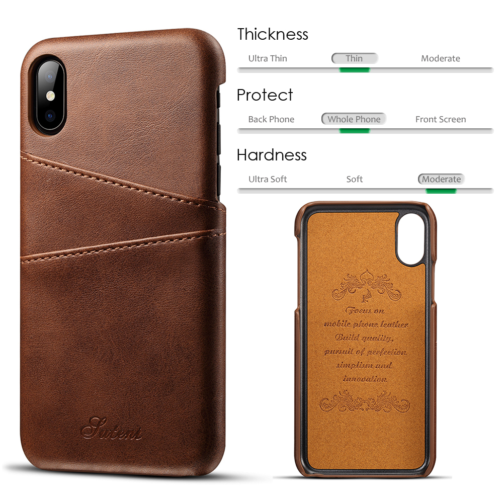 KIPX1014_2_Slim Leather Back Cover For iPhone X Cow Case Ultra Thin Wallet Card Holder Back Covers For iPhone 10