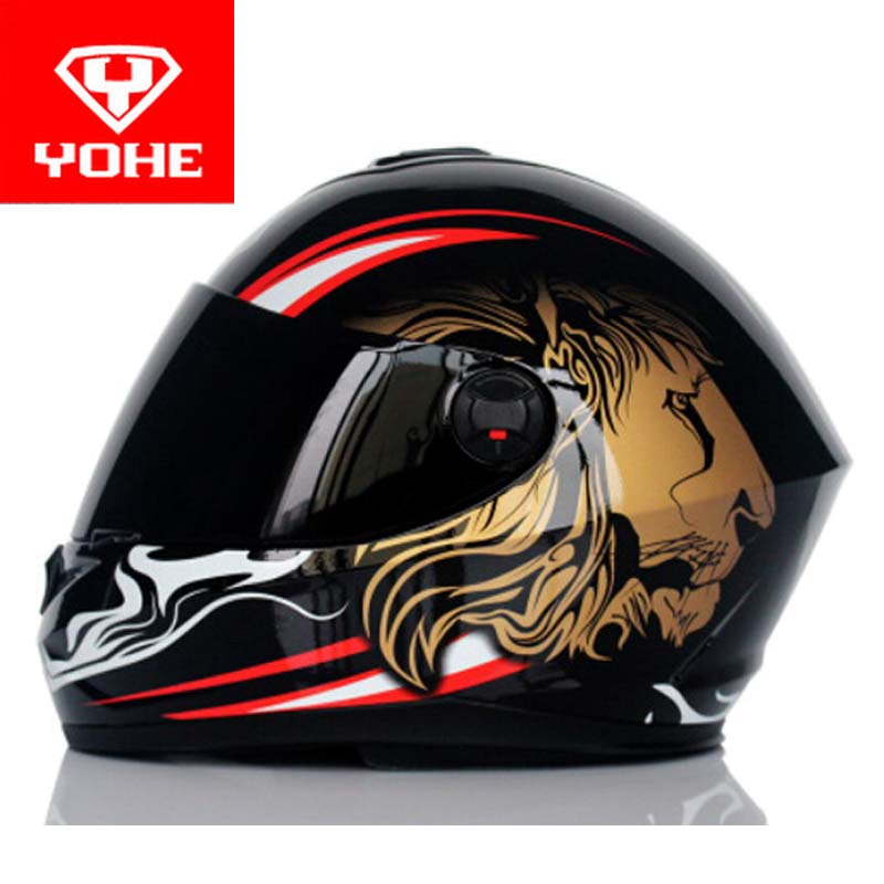 2017 Fashion YOHE Motorcycle helmet full face running motorbike helmets Warm scarf made of ABS Model YH966 with lion pattern