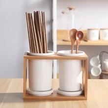 Creative Ceramic Porcelain Wood Chopsticks Double Storage Rack Porous Drain Holder Spoon Knife Fork Kitchen Storage Organization