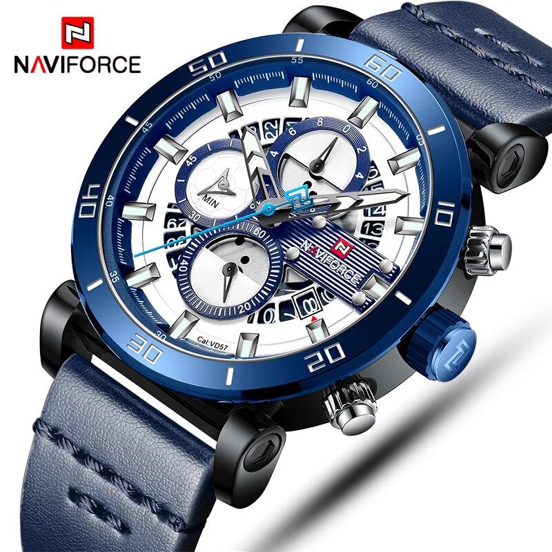 NAVIFORCE Hommes Montres Top Marque De Luxe Sport Multi-fonction Quartz-Montre Bracelet En Cuir Horloge Hommes Montre-Bracelet Étanche relogio