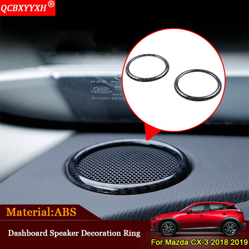 QCBXYYXH Car-styling ABS 2pcs/set Car Dashboard Speaker Decoration Ring Sequin Auto Sticker Accessories For Mazda CX-3 2018 2019 for mazda cx 5 cx5 2nd gen 2017 2018 interior custom car styling waterproof full set trunk cargo liner mats tray protector