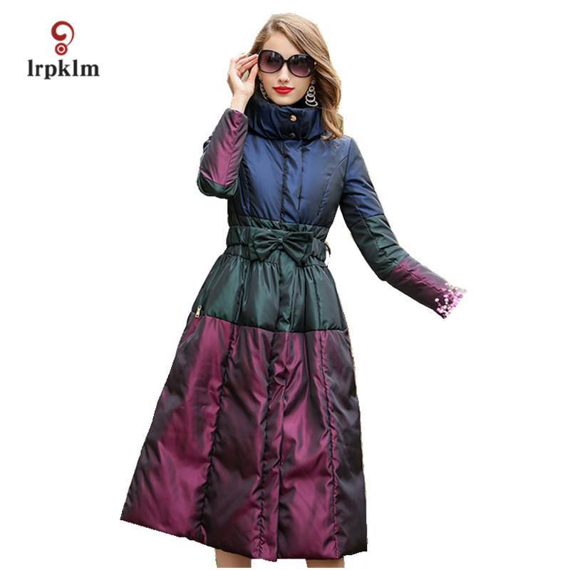 2017 New Fashion Women Winter Long Down Jackets Stand Collar Female Warm Duck Down Coat  Slim Waist Black PQ071