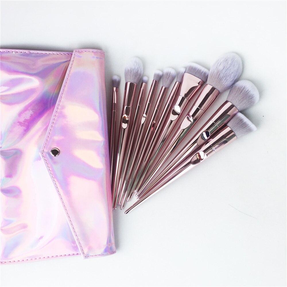 ONO Pinceau Pro Line Brush Bundle-10-pièces Brosse ensemble avec Pochette-Rose Mignon Ultra-Doux brosse À Cheveux synthétique Kit (Sans Logo)