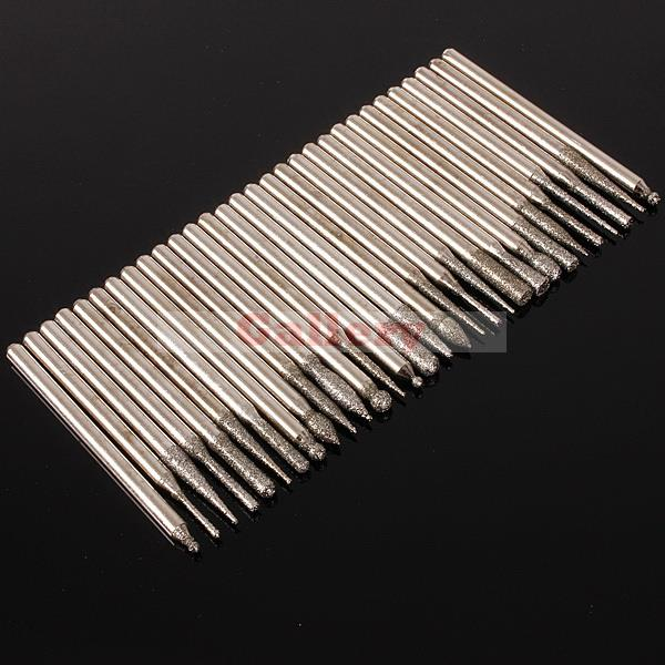 3 Sets Lot 30pcs Burr Glass Bits for Engraving Rotary Tool Mini Drill Drill