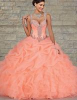 L77 персик Цвет бальное платье оборками из органзы Кристаллы бисером, покрытые назад сладкий 16 партии Quinceanera для матери невесты платье
