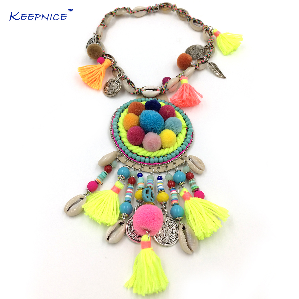 New Boho Handmade Chokers Necklace Bohemian Colorful Pompous Pendants Necklace Collier Women Sea Beach Tassel Charm