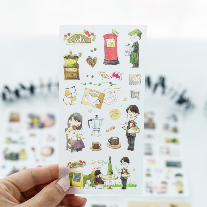 6Pcs/set Cute Relaxing Coffee Time Cartoon Decoration Sticker PVC Diary Stationery Stickers Scrapbook Office School Supplies цена и фото