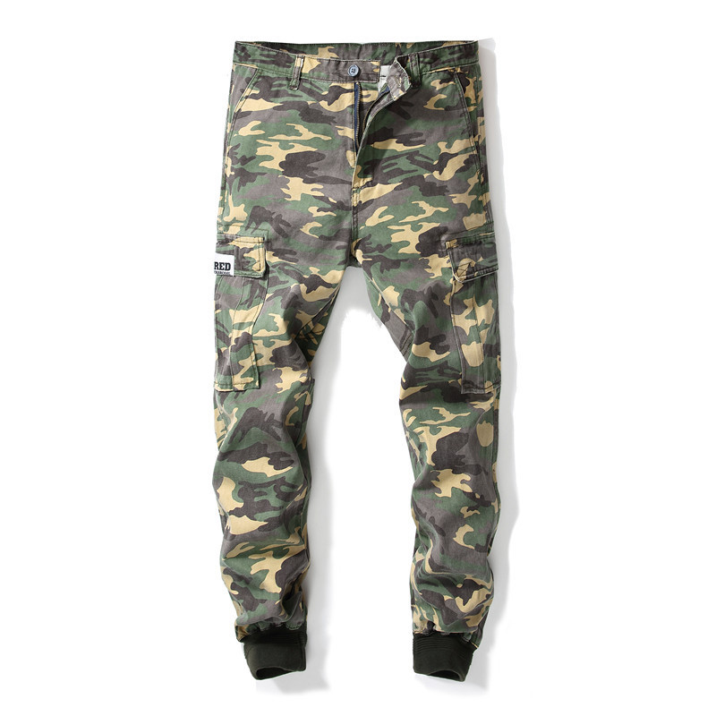 MORUANCLE Fashion Men Hip Hop Camouflage Jean Joggers With Multi Pockets Straight Harem Denim Pants Trousers Elastic Cuff
