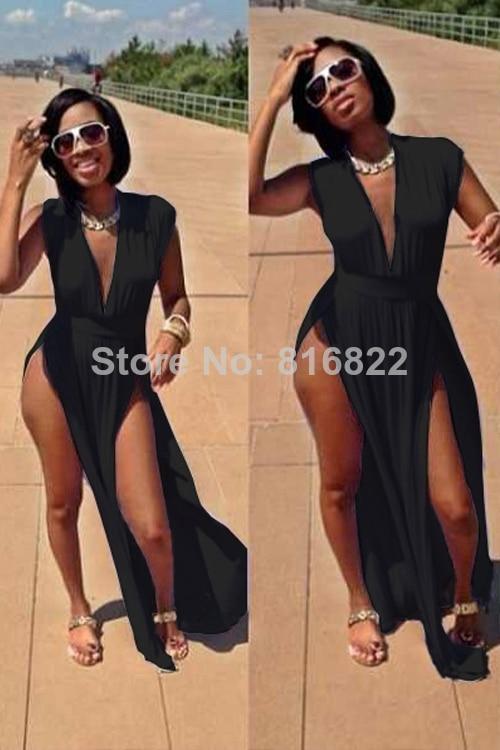 57fe3245da7 Black White Deep V Cut Side Sexy Dress 2014 Women Summer Bodycon Long Dress  Novelty Party Club Dresses Plus Size XXXL-in Dresses from Women's Clothing  on ...