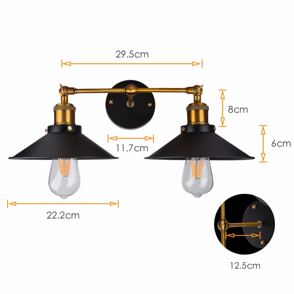 Modern Vintage Loft Metal Double Heads Wall Light Retro Brass Wall Lamp Country Style E27 Edison Sconce Lamp Fixtures 110V/220V-in LED Indoor Wall Lamps from Lights & Lighting    2