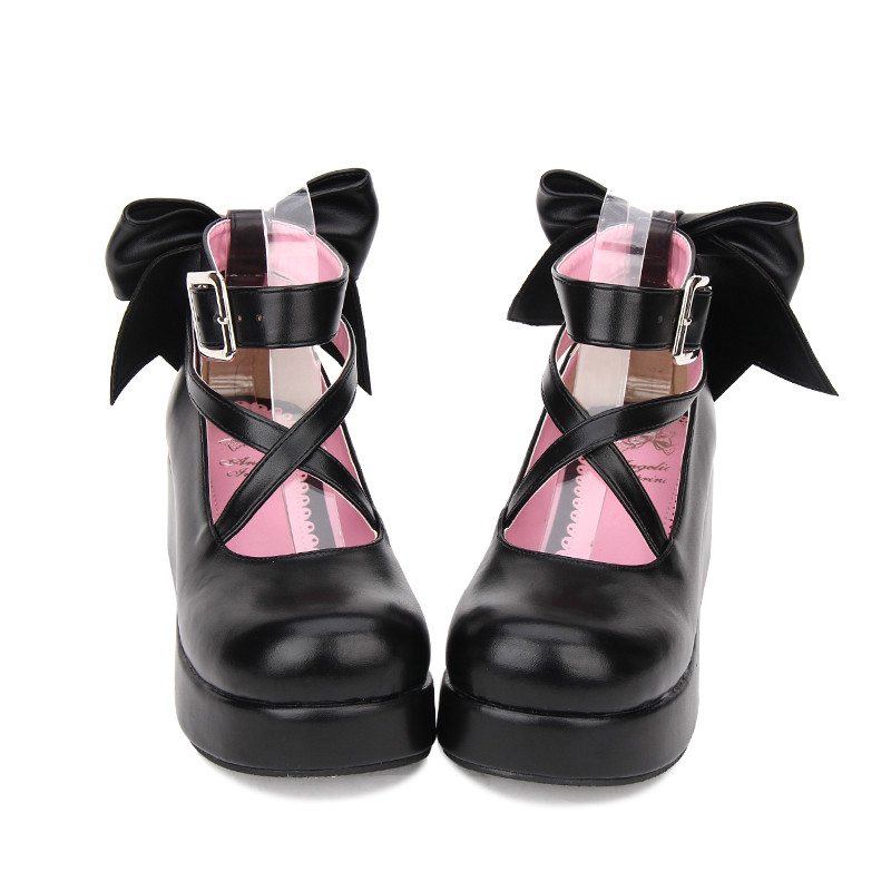 Princess sweet punk shoes Spring daily Lolita shoes with thick soles muffin round shallow mouth Big Bow Shoes soft sister pu8280 japanese bow shoes with thick bandage round lolita soft sister girl lolita cos shoes high heels lolita shoes