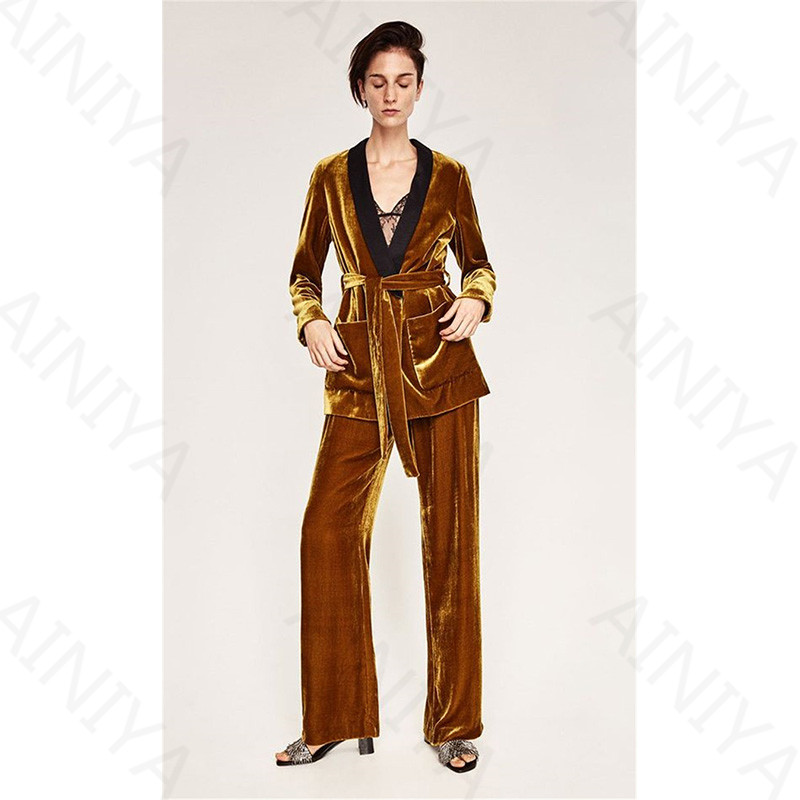 Gold Formal Velvet Blazers Suits Styles Uniforms With 2 Pieces Jackets + Pants Women Slim Fit Pants Business Suits Custom Made
