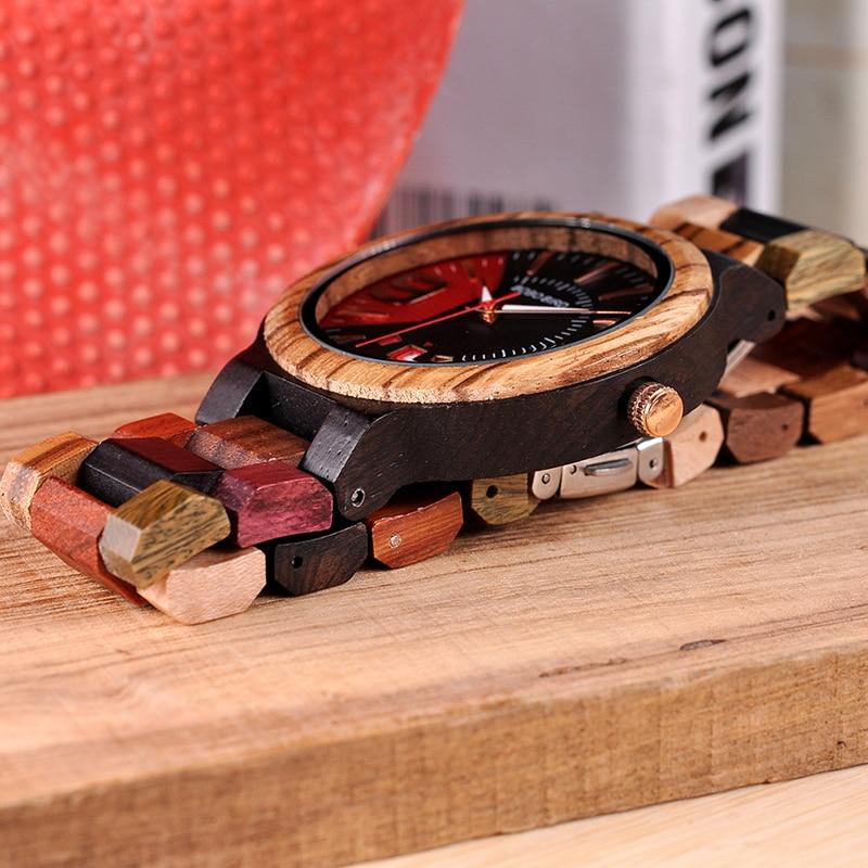 Image 4 - BOBO BIRD Relogio Masculino Wooden Watch Men Luxury Date Display Wood Japanese Quartz Watches Mens Great Gift erkek kol saatiQuartz Watches   -