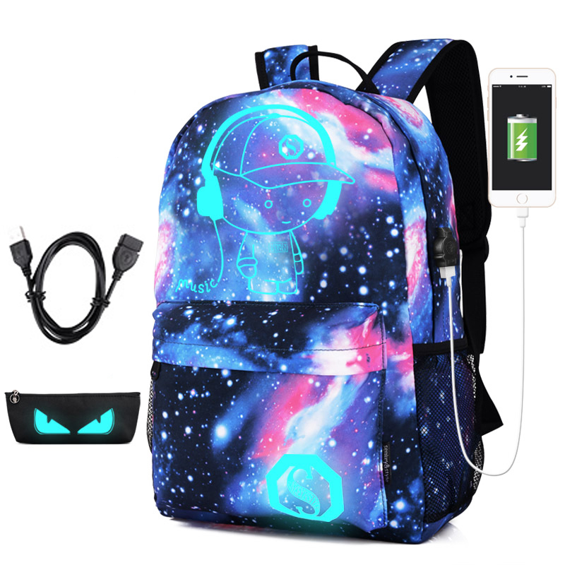 Namvitae Cute Printing Cartoon School Bags Fashion Children USB Charging Backpack for Teenager Luminous Backpack mochila escolar