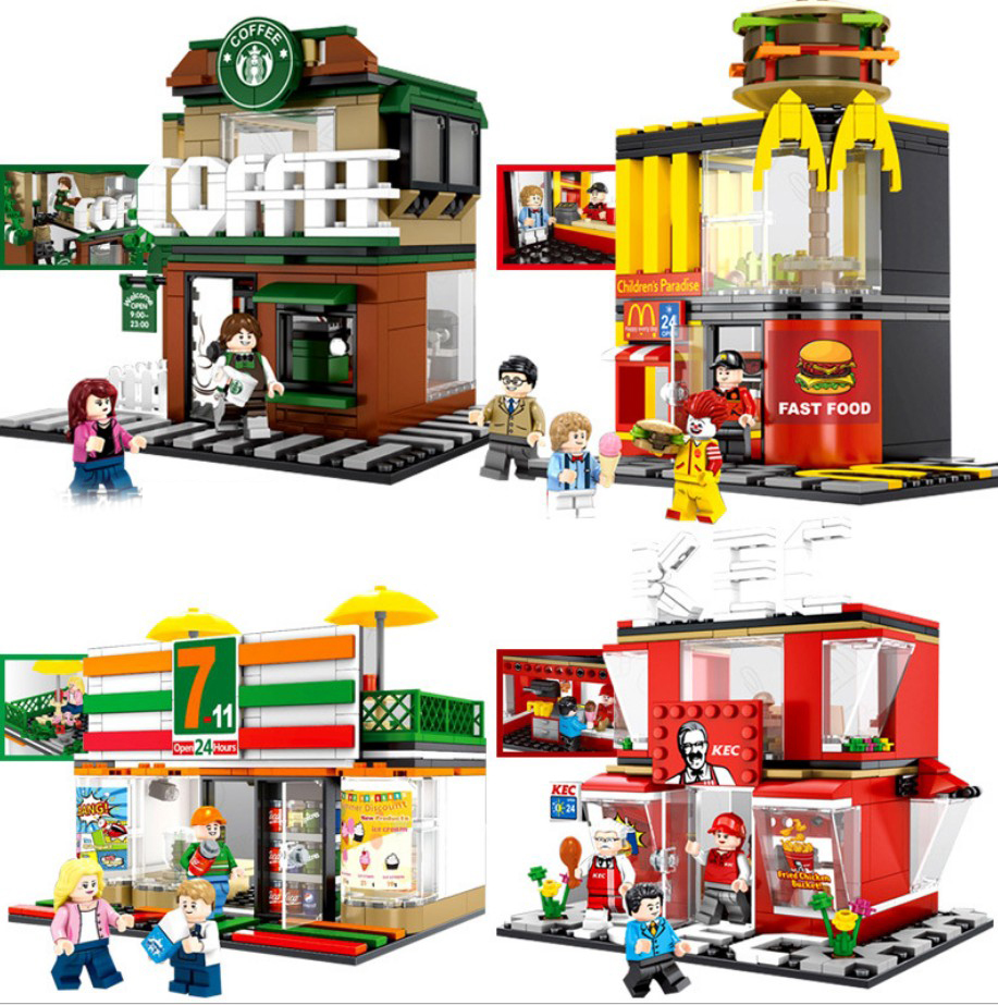 Hot city street view building block figures McDonald Fried chicken shop 7-11 Convenience Store Starbuck coffee shop bricks toys 283pcs starbucks coffee shop model building blocks street view shop manager figures compatible legoed city educational toys kids
