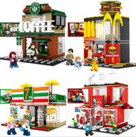 Hot city street view building block figures McDonald Fried chicken shop 7 11 Convenience Store Starbuck coffee shop bricks toys