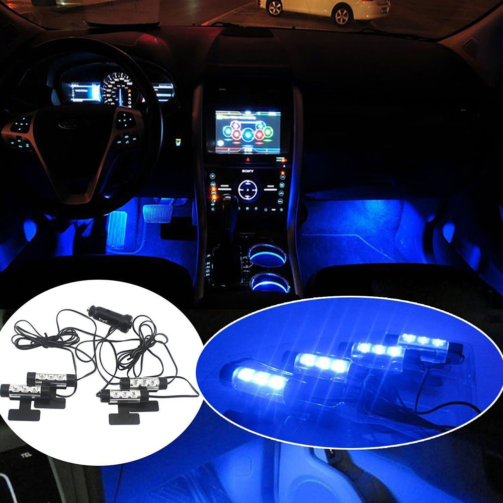 3LED Car Charge Interior Accessories Floor Decorative Atmosphere Lamp free shipping