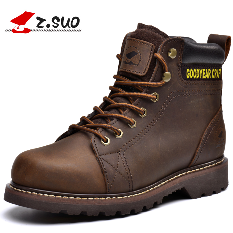z.suo Cow Leather Mens Black Boots Handmade Winter Men's Safety Work Shoes Brown Bota Masculina Retro Fashion Ankle Boots 16008B