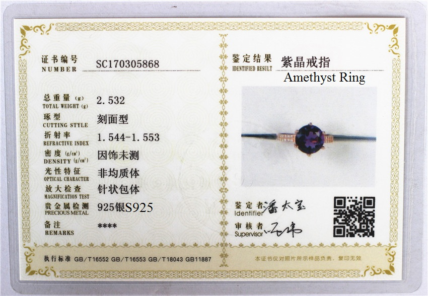 Almei 2.5ct Amethyst Female Purple Ring Rose Gold Color Jewelry Vintage Wedding Rings Silver 925 Birthtone with Box 40% FJ104