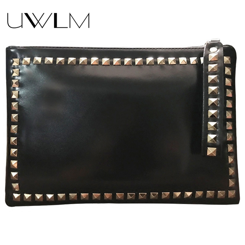2018 Clutches Women Soft Leather Luxury Handbags Women Bag Designer Metal Rivets Party Street Shopping Party Evening Clutch Bags
