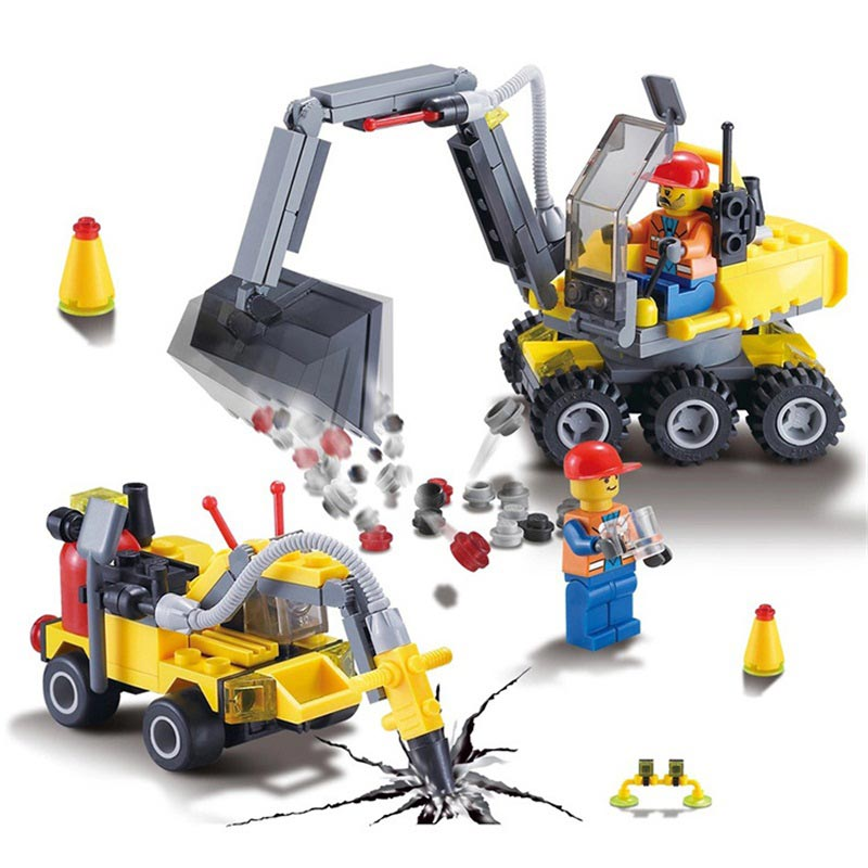 196pcs City Construction Engineer Excavator Building Block Compatible legoed City figures Educational Bricks Toys for children 196pcs building blocks urban engineering team excavator modeling design