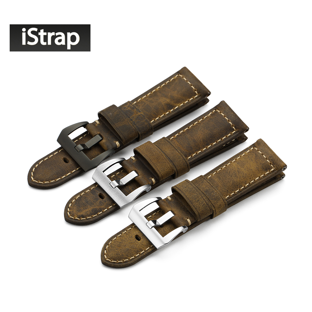 iStrap Handmade 24mm Italy Vintage Genuine Leather Watch Band with Stainless Steel Buckle Watch Strap for Panerai watch istrap 22mm handmade genuine calf leather padded replacement watch band for men black 22