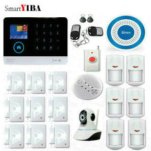 SmartYIBA wireless wifi gsm alarm system TFT display door sensor home security alarm systems Wired Siren Kit SIM SMS Alarm